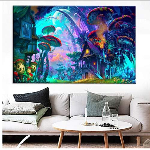Wohnkultur Abstrakte Wandkunst Bild Psychedelic Forest Malerei Fantasie Landschaft Leinwand Malerei 50x70 cm Kein Rahmen
