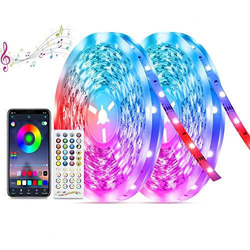 20M Tiras-Led Música Bluetooth, TASMOR Tira led RGB 5050 Multicolores, Sincronización con Música, Controlado con Móvil...