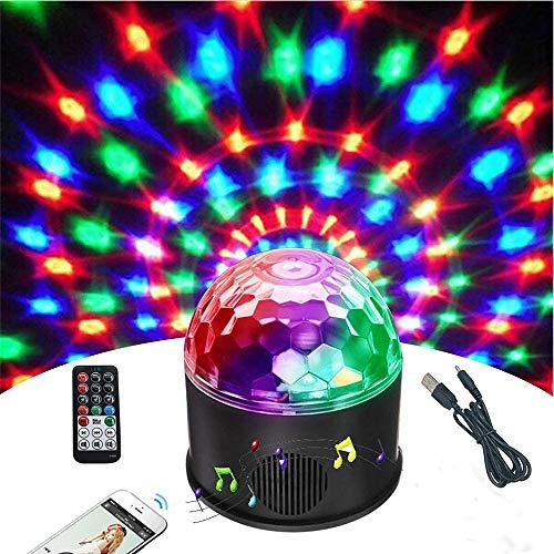 KB-SEVEN Discokugel 9 Farbe Mini Bluetooth Musik LED Party Licht Bunte Lichteffekte Licht Bühnenbeleuchtung Kristall Magic Ball mit Fernbedienung für Kinder,Bar, Party [Energieklasse A++]