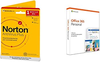 Norton Antivirus Plus | 1 User 1 Year | Includes Smart Firewall & Password Manager | PC or Mac | Physical Delivery | No CD&Microsoft Office 365 Personal for 1 user, 1 yr (Activation Key Card)