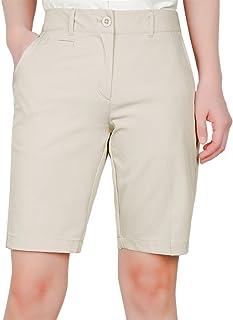 DrawingIQ Women's Golf Shorts Stretch Standard fit Performance Flex Chino Bermuda Short