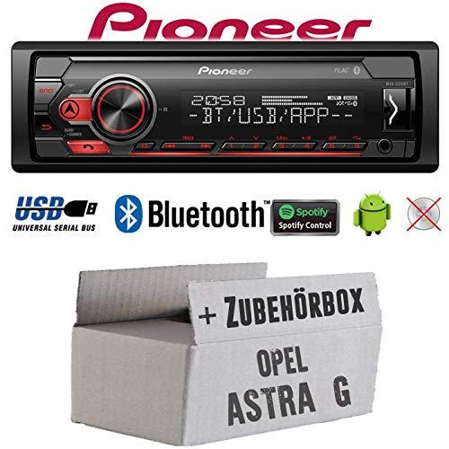 Autoradio Radio Pioneer MVH-S320BT - Bluetooth | Spotify | MP3 | USB | Android | 4x50Watt Einbauzubehör - Einbauset für Opel Astra G - JUST SOUND best choice for caraudio