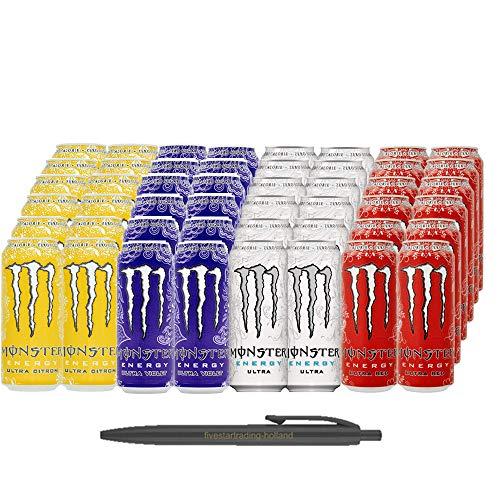 Monster Zuckerfrei: 1x12 Ultra Red und 1x12 Ultra White 1x12 Ultra Citron 1x12 Ultra Violett (Insgesamt 48 Einweg-Dosen x 0,5 L) Inkl. Gratis FiveStar Kugelschreiber