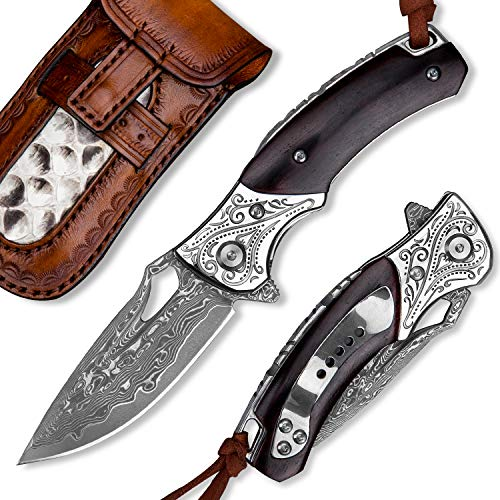 Spirit Deed Japanese Handmade VG10 Damascus Steel Folding Knife with Pocket Clip,Leather Sheath,Rosewood Handle Knives for Men