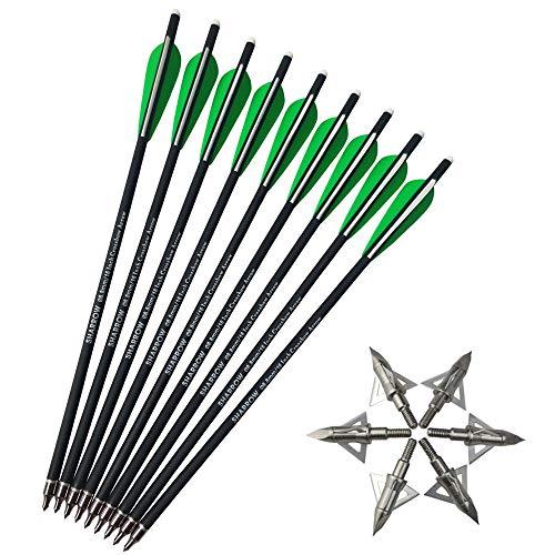 SHARROW 12 Piezas Flechas de Ballesta Flechas de Carbono Flechas para Ballesta 16