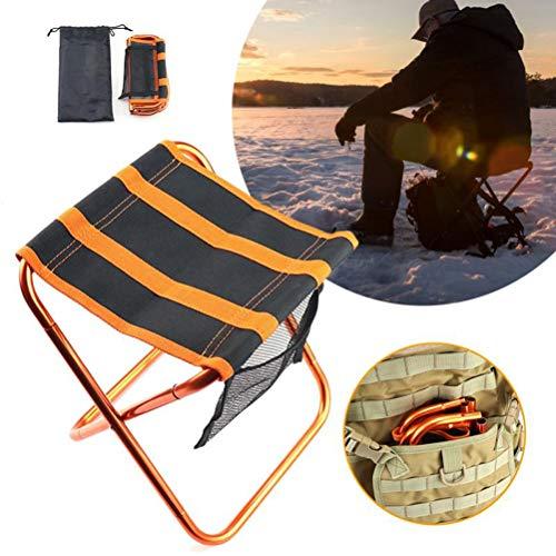 WWJJLL Outdoor-Freizeit-Camping-Hocker, bewegliche Klapphocker, Faul Klapphocker mit Taschen-Entwurf, Geeignet für Jagd, Wandern, Angeln Trip, Barbecue Angeln