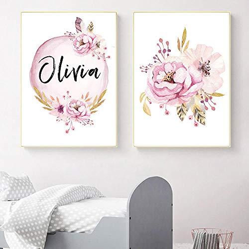 CNHNWJ kinderkamer druk aangepaste meisjesnaam baby poster pioenroos foto's bloemen canvas schilderij muurschilderij muurschilderij kinderslaapkamer decoratie (50x70cmx2 / geen lijst)