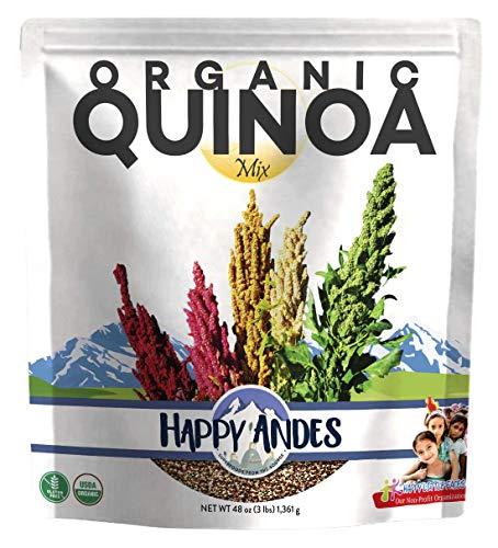 Happy Andes Tri-Color Organic Quinoa 3 lbs - Non Gluten, Whole Grain Quinoa - Ready to Cook Food for...