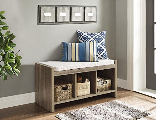 Altra Penelope Entryway Storage Bench with Cushion, Sonoma Oak