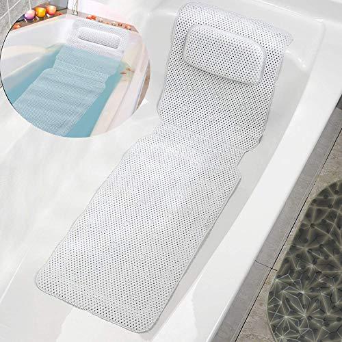 BREEZO Badewannenmatten, Badewanne Rutschmatte Rutschfest mit Abflusslöchern und 30 Saugnäpfen, Badewanneneinlage für Badezimmer Antibakteriell Waschbar 125 x 36cm, Weiß