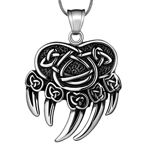 Celtic Knot Norse Mythology Thor's Hammer Bear Claw Paw Necklace 316L Stainless Steel Odin Axe Triskelion Dragon Mysterious Symbol Pendant Mens Jewelry SP0051G