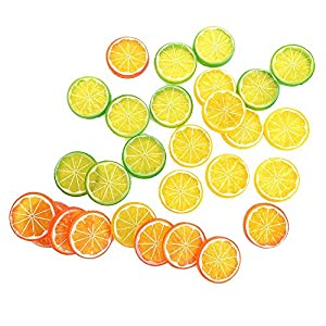 NUOMI 30 Pieces Plastic Lemon Slices Artificial Fake Lemon Props Lifelike Fruit Model for Decoration, Garnish, Photography Props, DIY, Teaching, 508 mm, Orange, Green and Yellow