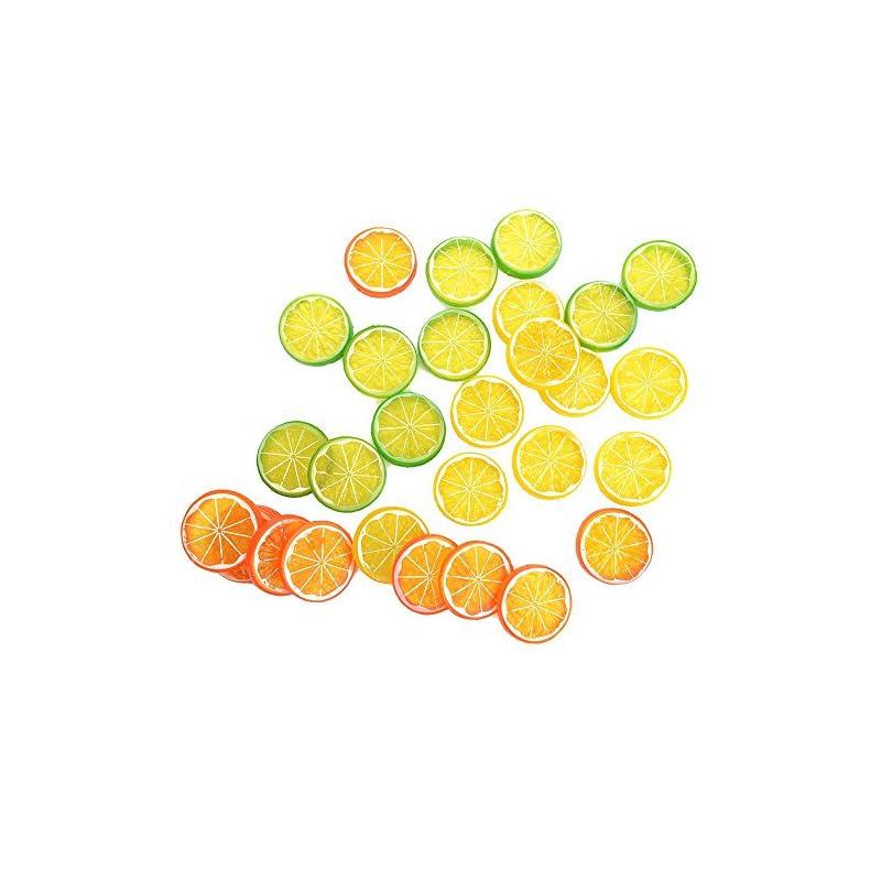 silk flower arrangements nuomi 30 pieces plastic lemon slices artificial fake lemon props lifelike fruit model for decoration, garnish, photography props, diy, teaching, 508 mm, orange, green and yellow