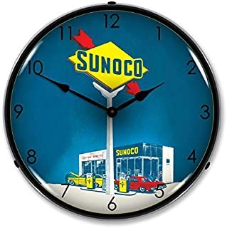 The Finest Website Inc. New Sunoco Gas Retro Vintage Style Advertising Backlit Lighted Clock - Ships Free Next Business Day to Lower 48 States