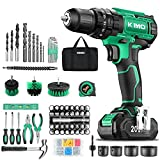 KIMO Cordless Drill Driver Set, 20V Drill Driver with w/Li-ion Battery/Charger, 68PCS Accessories, 3/8' Chuck, 350 In-lb Torque Drill Bits, Torpedo Level, Wire Pliers for Wood, Furniture Installation