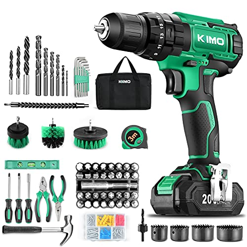 """KIMO Cordless Drill Driver Set, 20V Drill Driver with w/Li-ion Battery/Charger, 68PCS Accessories, 3/8"""" Chuck, 350 In-lb Torque Drill Bits, Torpedo Level, Wire Pliers for Wood, Furniture Installation"""
