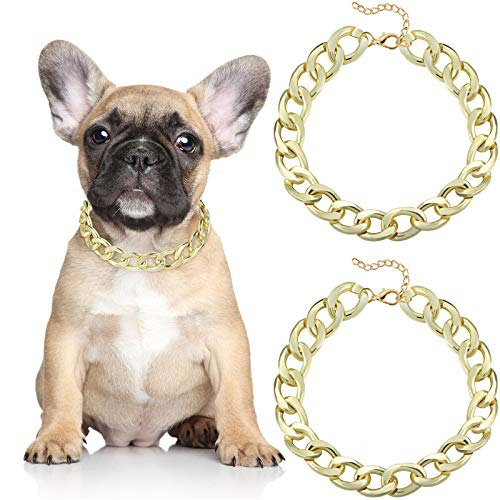 Hicarer 2 Pieces 14 Inch Metal Gold Link Chain Necklace Pet Chain Collar Adjustable Pet Jewelry and Accessories for Dogs, Bulldog, Chihuahua, Yorkie, Mini Breeds