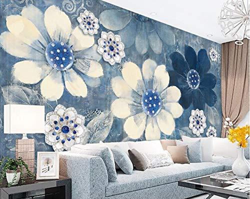 WH-PORP Aangepaste 3D Wallpaper Home Meubels Fresco Retro Pastorale Mooie Bloemenbank Tv Woonkamer Achtergrond 3D Behang 350cmx245cm