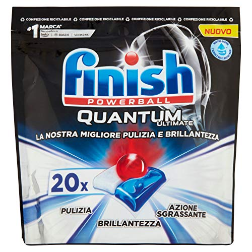 Finish Quantum Max - Pastillas de detergente para lavavajillas, regular, 20 tabletas