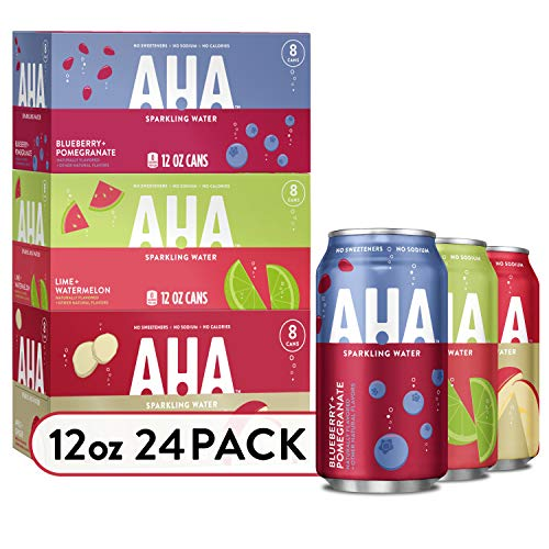AHA Sparkling Water Variety Pack (Apple + Ginger, Lime + Watermelon, Blueberry + Pomegranate), Zero Calories, Sodium Free, No Sweeteners 12 Fl Oz, 24 Pack (8 Cans Each Flavor)