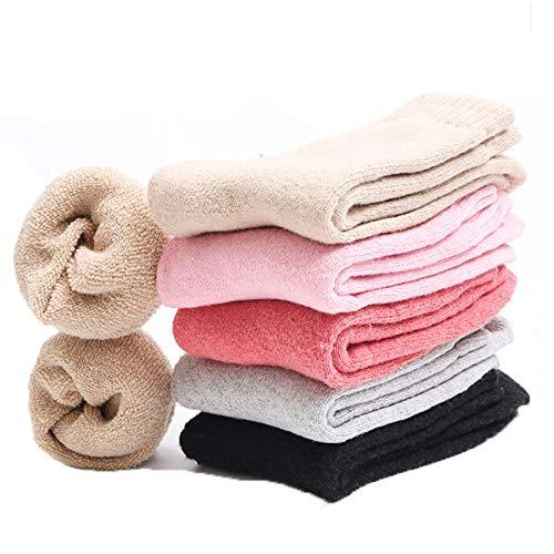 Comius Sharp 5 paia di calzini di lana da donna Calzini di cotone termico invernale caldo di colore chiaro per ragazze adolescenti