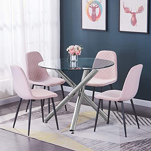 BOJU Round Glass Kitchen Dining Table and Chairs Set of 4 Pink Velvet Upholstered Occasional Chairs and Clear Tempered Glass Table Set