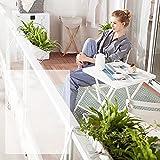 MINGJ Patio Bistro Set 3 Piezas, Juego de Muebles de jardín, 1 Mesa y 2 sillas, Silla de Mesa Plegable de Metal Reforzado para balcón de jardín al Aire Libre(White)