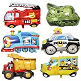 CUIZC Globos de película de aluminio de ingeniería para vehículos, tren o camión de bomberos, globos para fiesta de cumpleaños de bebé