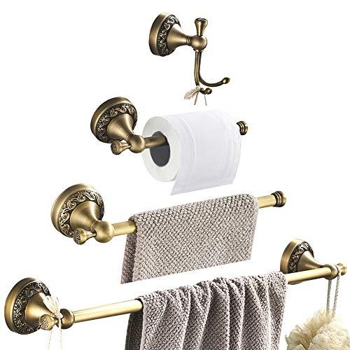 WOMAO Handtuchhalter Antik Messing Vintage Wandmontage Badezimmer Zubehör Set zum Bohren 4er Set Duschwand Retro Landhausstil Handtuchhaken Toilettenpapierhalter