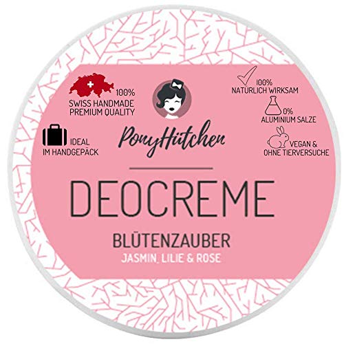 PonyHütchen Deocreme ohne Aluminiumsalze / 50 ml Naturkosmetik Deo Creme / Bio / Vegan / Swiss Handmade / Ideal im Handgepäck / Natürlich wirksam ohne Alu / Deodorant