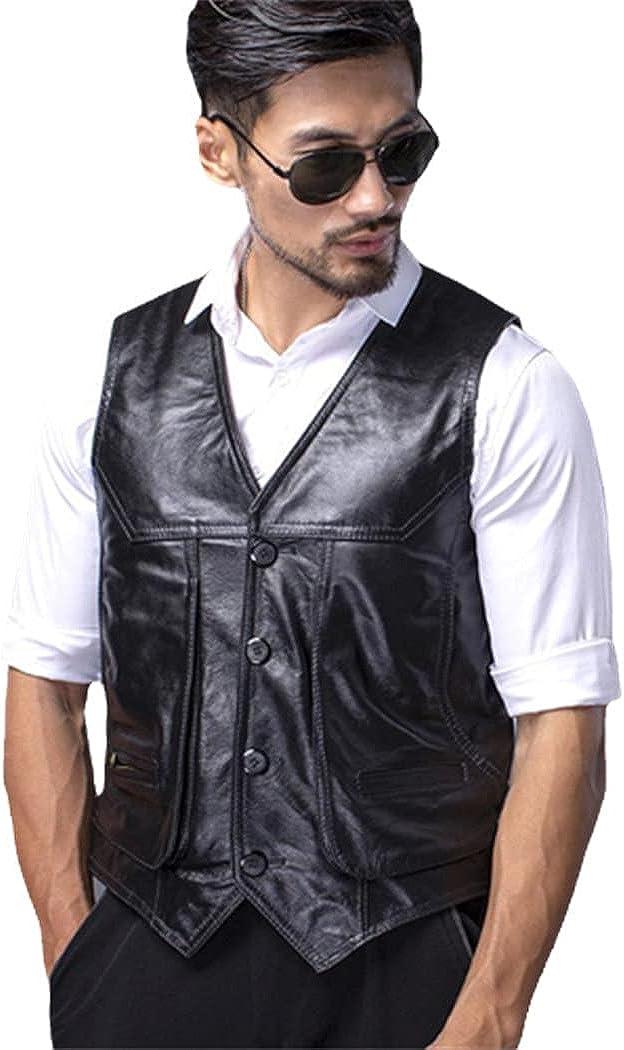 Leather Vest Men's Multi-Pocket Top Cowhide Retro Slim Waistcoat Vest Suit Natural Leather Jacket