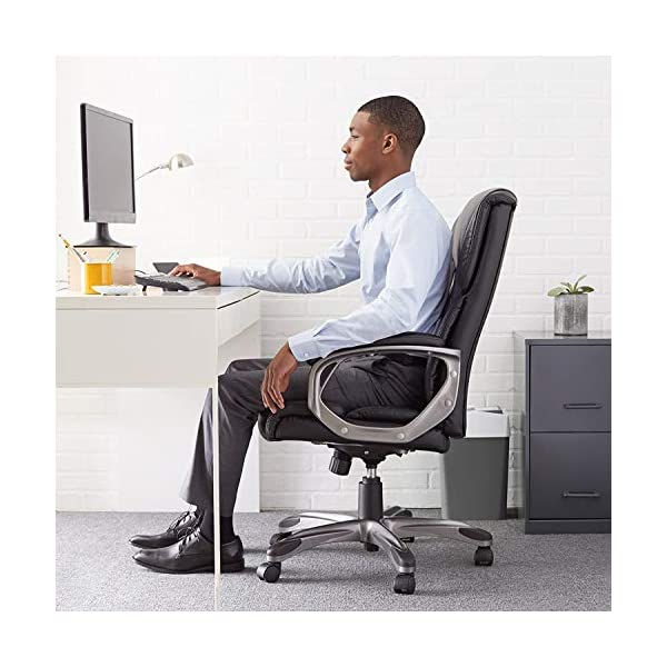 Amazon Basics High-Back, Leather Executive, Swivel, Adjustable Office Desk Chair with Casters