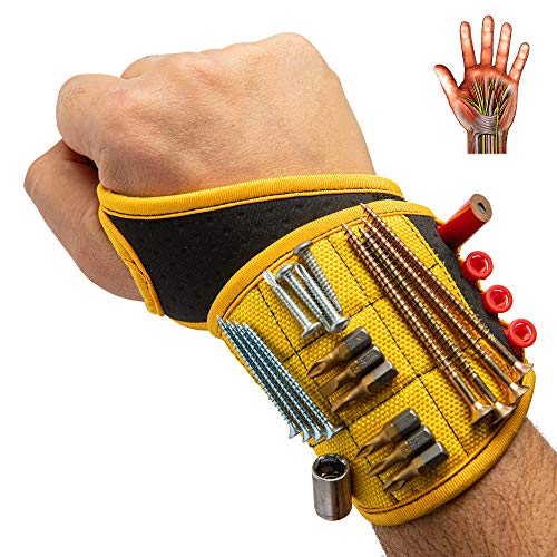 BinyaTools Magnetic Wristband With Super Strong Magnets Holding Screws, Nails, Drill Bit. Unique Wrist Support Design Cool Handy Gadget Gifts for Fathers, Boyfriends, Handyman, Electrician, Contractor