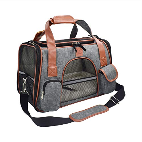 GQFGYYL Portable Pet Handbag, Dog Carrier Travel Car Seat Pet Carriers Folding Backpack Breathable Cat Cage Breathable Small Dog Travel Bag,Dark Gray