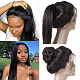 360 Lace Frontal Closure 10A Brazilian Hair 360 Closure Pre-plucked with Baby Hair 100% Unprocessed 360 Human Hair Closure Natural Color (12 Inches)