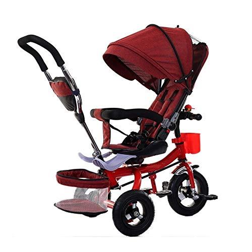 WENJIE Cochecito Giratorio Carrito De Bebé Plegable Bicicleta for Niños con Toldo Valla De Seguridad Freno Regalo De Cumpleaños del Bebé (Color : Red)