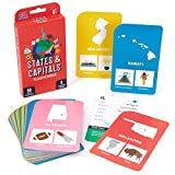 States & Capitals Flash Cards for Kids – 50 American State Cards + 9 Learning Games – USA Facts, Capitals, Nicknames, Geography, History, Mottos & Trivia – Memorization, Studying & Teaching Tool