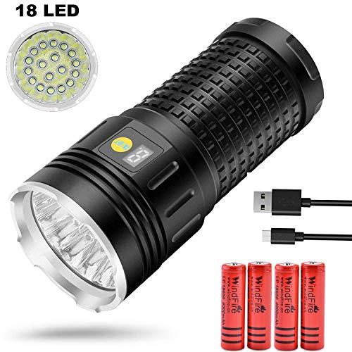 Taschenlampe Super Bright-18 x T6 LED 18000 Lumen Wiederaufladbare USB Wasserdichte 3 Modi Taktische Taschenlampe mit Power-Display und Batterien für Outdoor-Camping Wandern Angeln Höhlenforschung