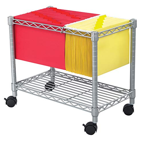 Safco Products Wire Mobile Letter/Legal File Cart 5201GR, Gray Powder Coat Finish, Collapsible For Compact Storage