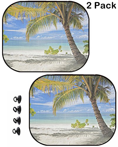MSD Car Sun Shade Protector Side Window Block Damaging UV Rays Sunlight Heat for All Vehicles, 2 Pack Image ID: 13612885 A Scene of Palm Trees and Sandy Beach in Maldives Island