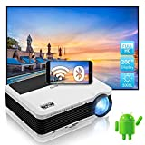 Bluetooth WiFi Projector,Wireless 5000 Lumen Outdoor Movie LED Theater Projector Android Smart Phone Gaming Keystone Zoom Screen Mirroring Airplay for Laptop Tablet DVD Player PS4 PC TV Stick HDMI USB