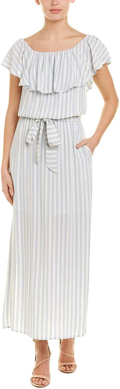 1.STATE Womens Stripe Ruffled Maxi Dress