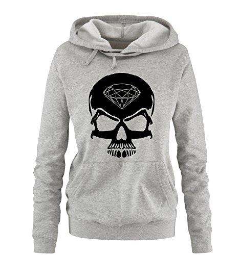 Comedy Shirts - Skull Diamond - Femmes Capuche - Gris/Noir Taille XL