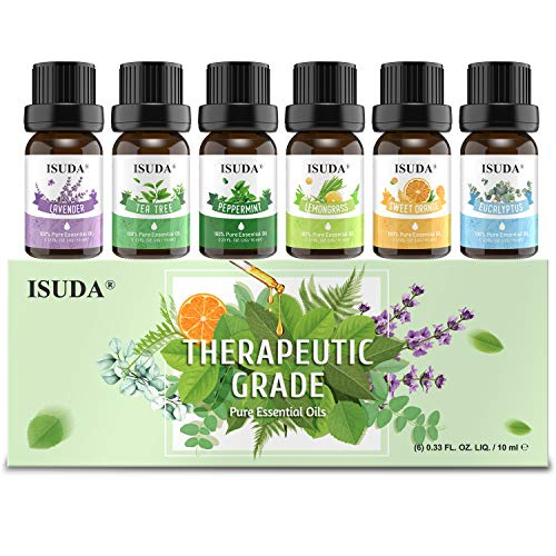 ISUDA Essential Oils, Pure Essential Oil for Diffuser, Essential Oils Set (Top 6) for Humidifier, Massage, Essential Oils for Diffusers for Home. Eucalyptus, Peppermint, Lavender, Lemongrass