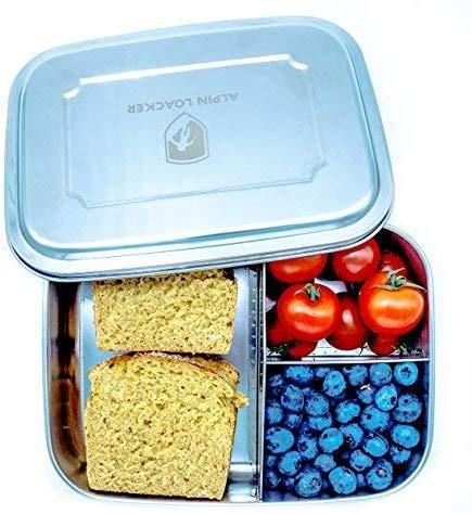 Alpin Loacker Edelstahl Lunchbox Groß 1800ml Brotdose, Bento Box, Vesperdose | mit Fächern, Trennwand | Die große Brotbox zum Wandern, Reisen, Schule, Kindergarten (ohne Schneidbrett, 1800ml)