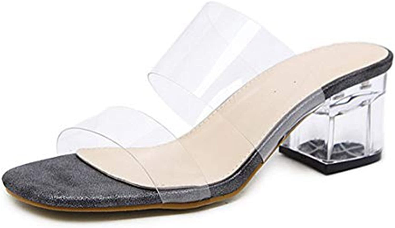 T-JULY Women's Transparent Crystal Middle Block Heel Hollow Out Slide Sandals Slip on Comfy Dress Open Toe Slippers