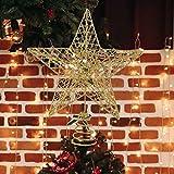 Christmas Tree Topper, Gold Christmas Tree Star, 10 Inch Christmas Tree Topper Star for...