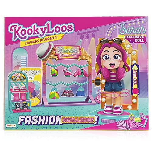 KOOKYLOOS Fashion Challenge – Vestidor con espejo giratorio con más de 15 accesorios y muñeca exclusiva con 3 expresiones divertidas. Incluye accesorios de moda, zapatos, vestidos y juguetes