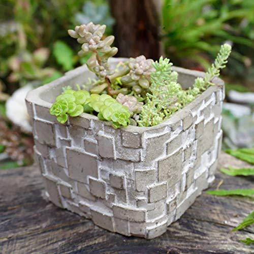 GJEFEGS Molde de Silicona Creativo Cuadrado concreto suculento Maceta Molde Cinta patrón Cemento plantador Herramienta