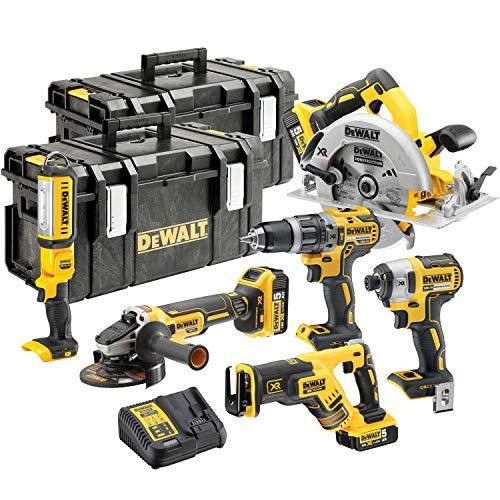 DEWALT DCK623P3 18V XR 6 Piece Brushless Kit with 3 x 5Ah DCB184 Batteries, DCB115 Charger & DS300 Case